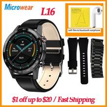 DIY tarcze zegarków Oryginalny Microwear L16 inteligentny zegarek mężczyźni ekg IP68 wodoodporny 360*360 nocny Monitor pracy serca VS DT95 L16 SmartWatch VS GTR GT 2 Smart watch for huwei IOS Mobile tanie tanio CN (pochodzenie) Dla systemu iOS Android Na nadgarstek Zgodna ze wszystkimi 128 MB Krokomierz Rejestrator aktywności fizycznej