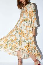 Floral Printed Long Dress  Pleated Casual Loose Sleeve Cuffs With Elastic Maxi Beach