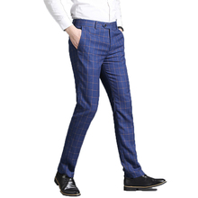 Male Fashion Business Formal Suit Pants Quality Casual Stretch Mens Trousers Long Straight Classic Slim Plaid Pant