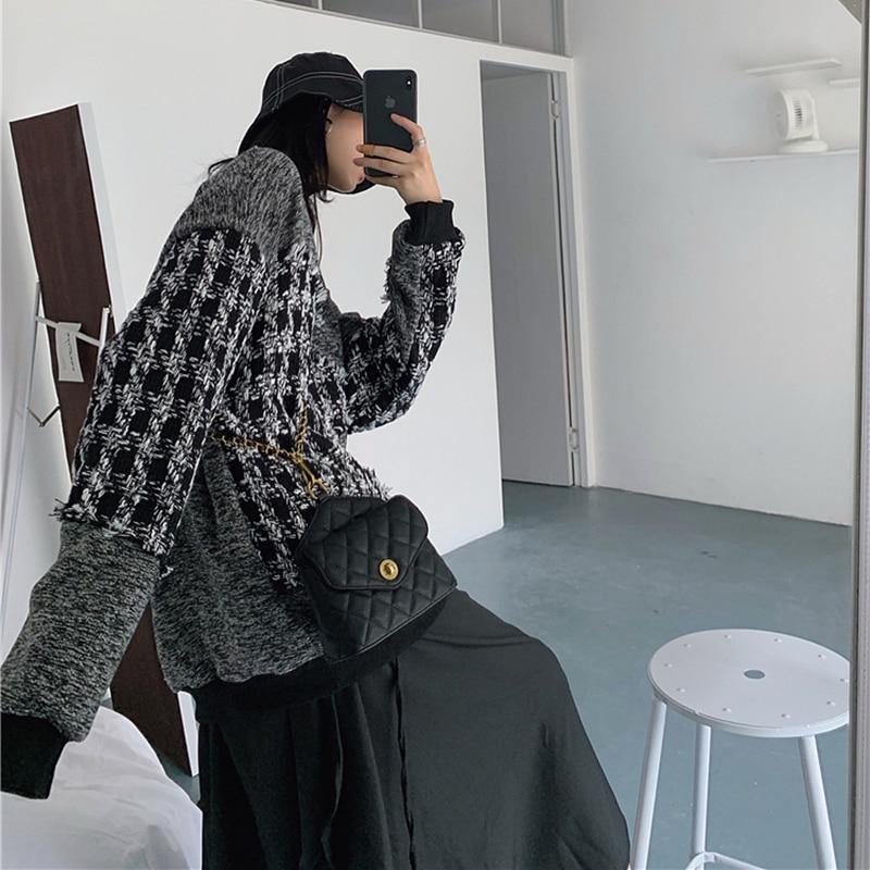 Купить 2020 зимний женский вязаный свитер в клетку женский повседневный