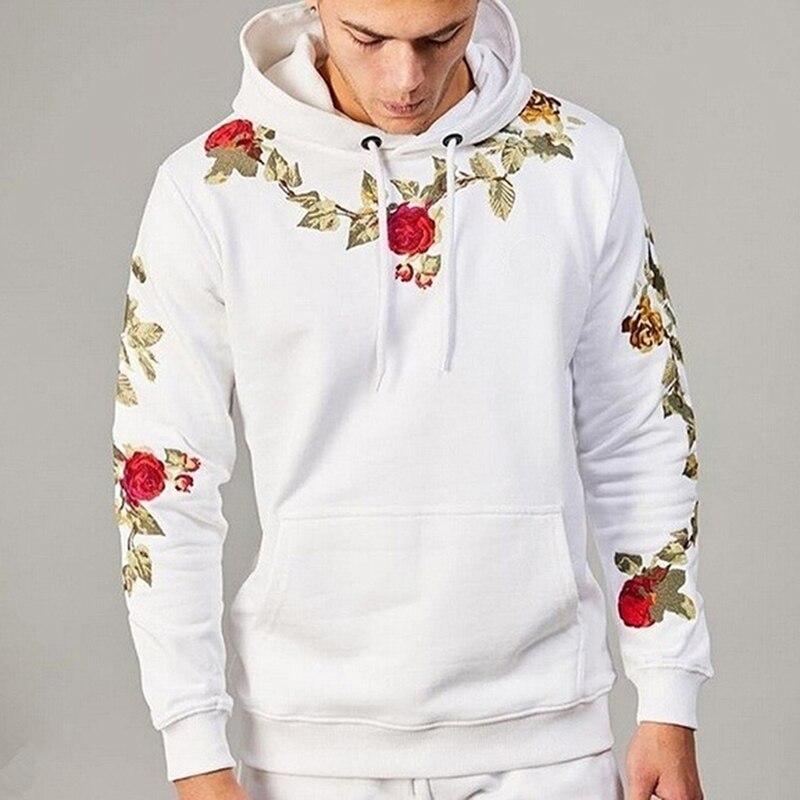 Толстовки с капюшоном и вышитыми цветами, пуловер Харадзюку, толстовки, уличная мужская одежда в стиле хип-хоп, Мужской Топ