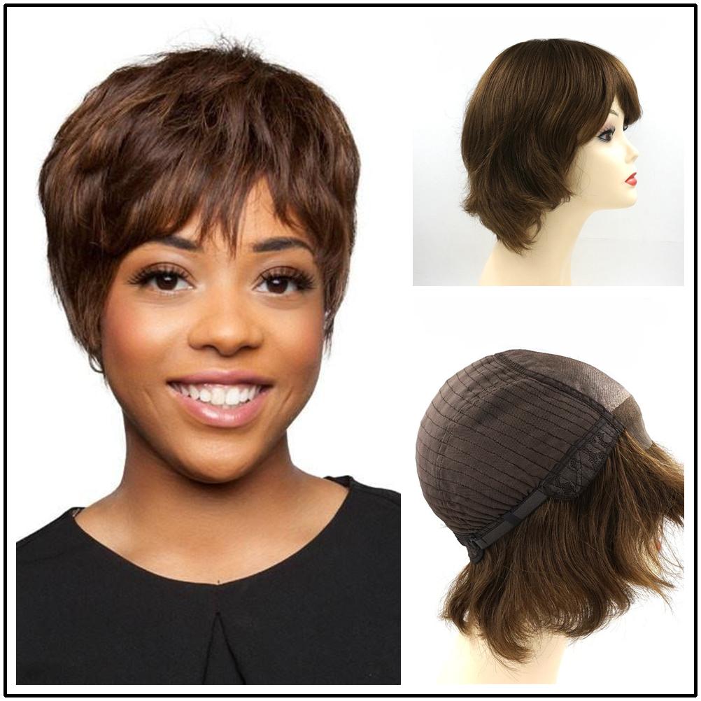 Hstonir Silk Top Back Weft Wig European Remy Hair Wavy Lace Front Human Hair Wigs Kosher Wig G016