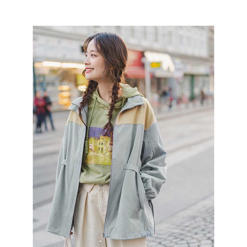 INMAN 2019 jesień New Arrival 100% bawełna minimalizm stanąć kołnierz moda wszystko dopasowane elastyczne rękaw kobiety płaszcz