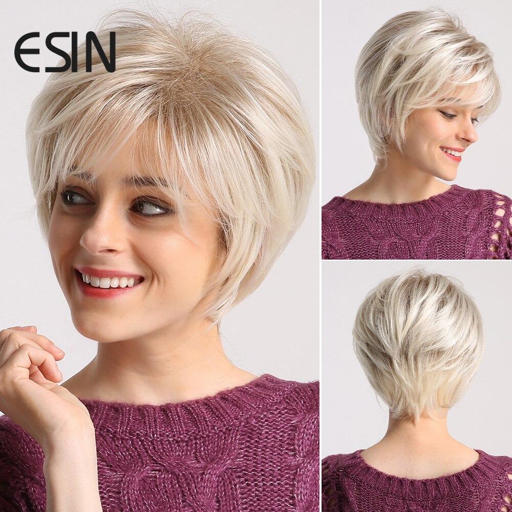 ESIN, Белый Удобный натуральный парик с короткими волосами и челкой, термостойкие синтетические парики для женщин
