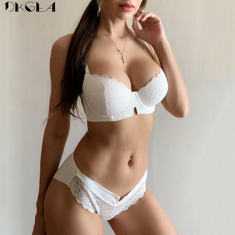 2020 New Gather Bra And Sets Lace Embroidery Sexy Underwear Set Cotton Thick Brassiere B C D Cup Push Up Bra Women Lingerie Set