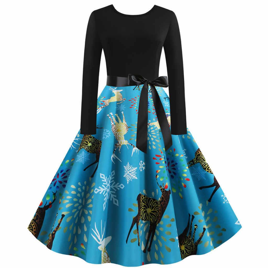 JAYCOSIN, винтажное платье А-силуэта, Женское зимнее рождественское миди платье с круглым вырезом и длинным рукавом с поясом размера плюс XXL Vestidos