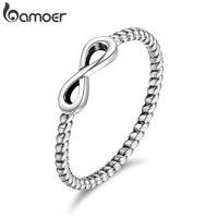 BAMOER популярные кольца из 100% стерлингового серебра 925 пробы  модные бесконечные Элегантные кольца для женщин  Свадебные обручальные ювелирн...
