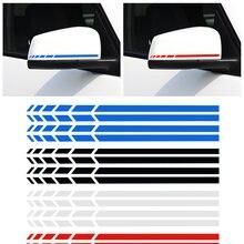 4 sztuk/zestaw naklejki samochodowe lusterko wsteczne lusterka boczne naklejka Stripe Vinyl Truck pojazd akcesoria do ciała czarny/biały/czerwony/niebieski 20*0.7cm