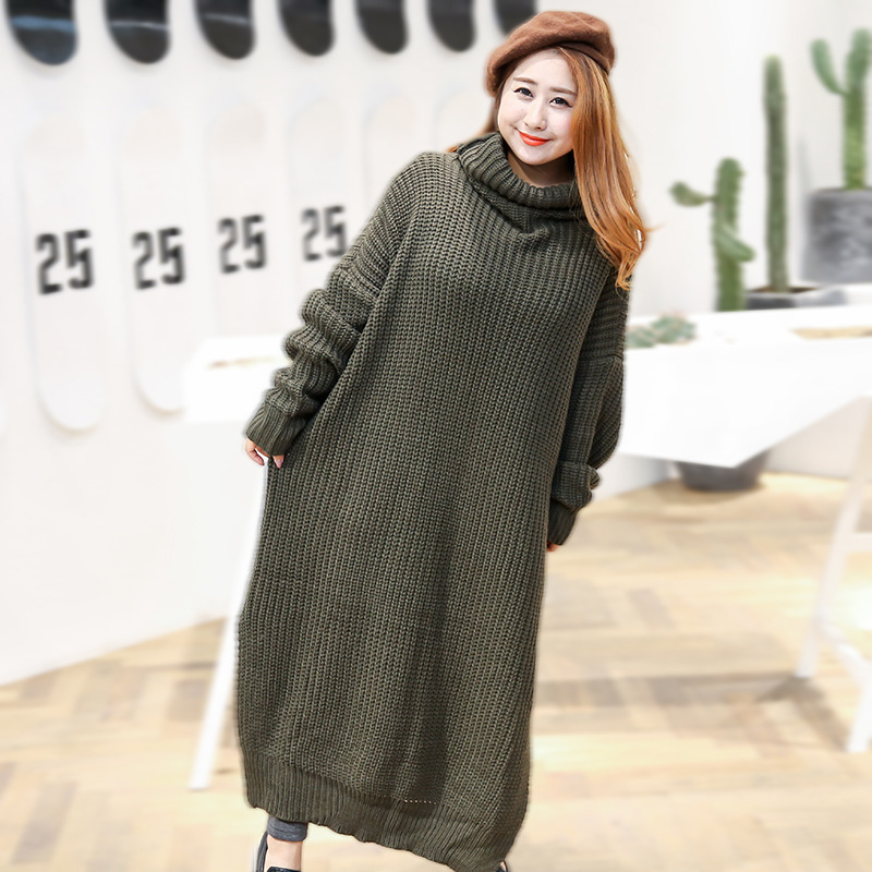 Ultra-Large Size 300 Of Panmei New Products Autumn And Winter Woolen Dress Mid-length High Collar Slit Sweater Dress 9105