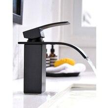 Mat siyah banyo bataryası şelale tek kolu torneira havza lavabo sıcak ve soğuk musluk bataryası