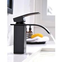 מט שחור אמבטיה ברז מפל יחיד ידית torneira עבור אגן כיור חם וקר מיקסר ברז