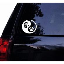 5 inch White Tshirt Rocket Yin Yang Decal Human Handprint and Dog Pawprint Dog Car Decal Laptop Decal Car Window Mirror Sticker