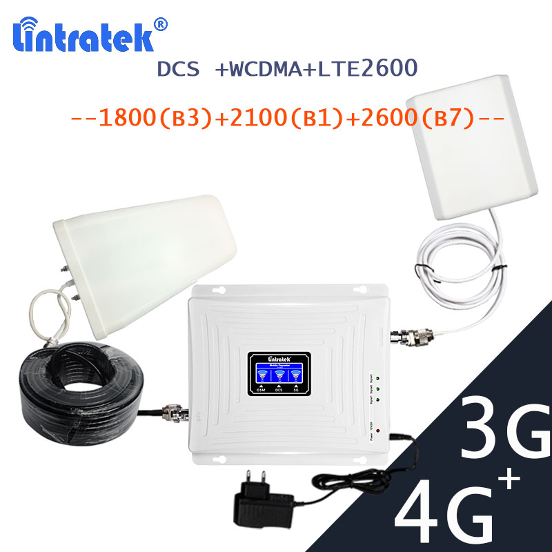 Lintratek  3G 4G LTE Signal Booster Repeater DCS 1800 LTE 2600 Wcdma 3 G 2100 Mobile Cellular Signal Communication Amplifier