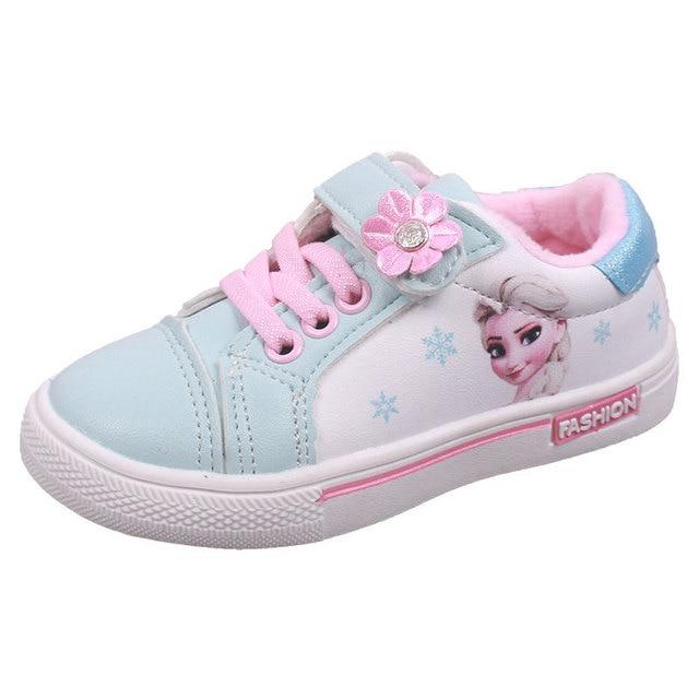 Niños Niñas zapatos de pisos casuales niños estudiante zapato niño zapatillas de deporte de moda Elsa Anna zapatillas de deporte de invierno deporte de abrigo zapato