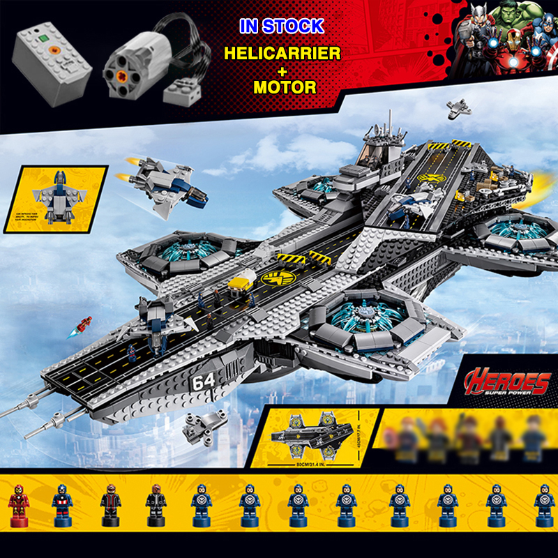 Marvel Helicarrier SHIELD Sky Carrier Compatible 07043 76042 Motor Building Blocks Bricks Toy Children Birthday Gifts