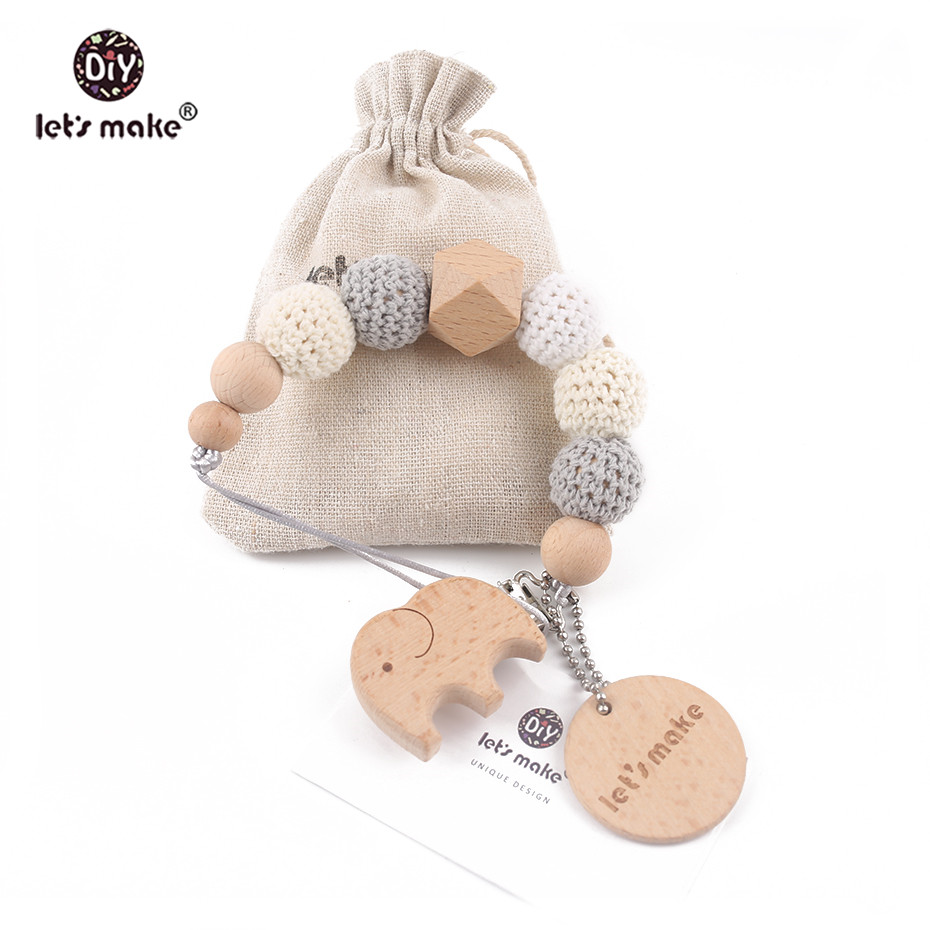 Let's Make 1PC Wood Baby Teether Pacifier Chain Elephant Wooden Clip Geometric Crochet Beads With Bag Wood Teether Tiny Rod Toys
