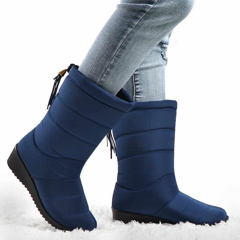 Vrouwen Winter Laarzen Mid Calf Waterdichte Snowboots Bont Wiggen Schoenen Dames Warme Beneden Laarzen Platform Botas Mujer Invierno 2019