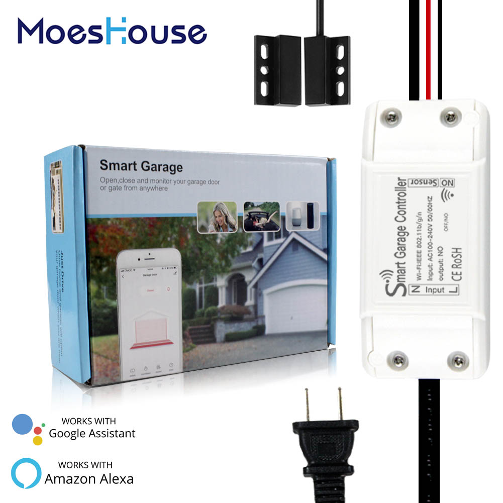 WiFi Smart Garage Door Controller Smart Life APP Remote Open Close Monitor Compatible With Alexa Echo Google Home No Hub Require