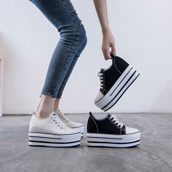 2020 Women's Shoes Thick Bottom Inside Increase 9cm Canvas Shoes Leisure Female Board Shoes Muffin With Single Shoes 33 Code