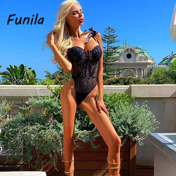 Sexy Bodysuit for Female Women Black Shiny Bandage One Piece Overalls Sleeveless Fashion Large Size Rompers Lace Up Top Bodycon 4