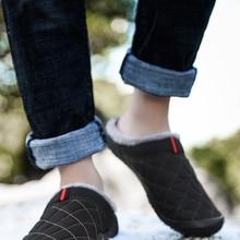 Men Shoes Footwear Cotton Slippers Warm Plush Outdoor Waterproof Winter Big-Size Man