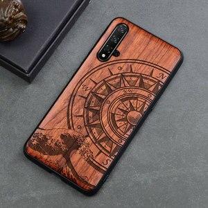 Image 4 - 新彫スカルエレファント木製電話ケース Huawei 社の名誉 20 プロ名誉 10 9x 8x 名誉表示 20 10 シリコン木製ケースカバー