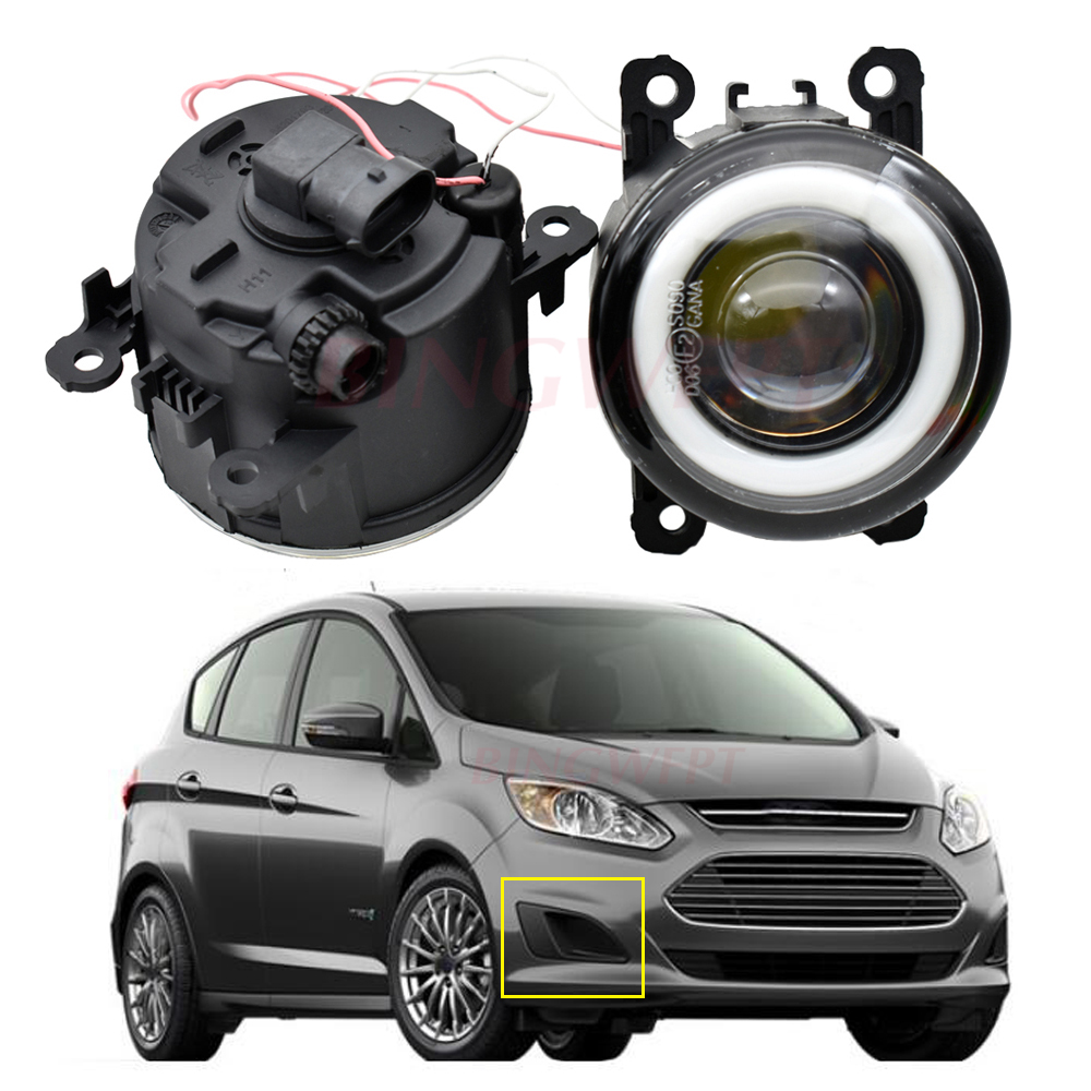 2x LED Fog <font><b>Light</b></font> Angel Eye Daytime Running <font><b>Light</b></font> For <font><b>Ford</b></font> C-Max 2 MPV 2010-2015 For EcoSport 2013-2017 For <font><b>Focus</b></font> MK2/3 Fusion image