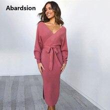 Abardsion kobiety sweter z dzianiny sukienka Wrap popędzający tunika Midi Vestidos długim rękawem podwójne V Neck podziel Casual jesienne sukienki 2019
