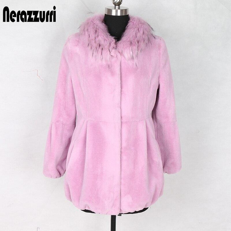 Nerazzurri Winter Faux Fur Coat With Fox Fur Collar Elastic Hem Pleated Artificial Fur Coat Pink Lavender Fluffy Jacket Women