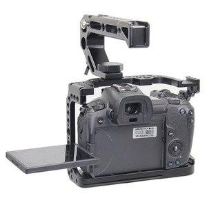 Image 5 - מגן מצלמה כלוב עבור Canon EOS R w/ Coldshoe 3/8 1/4 חוט חורים מצלמה וידאו מייצב מהיר שחרור צלחת סוגר
