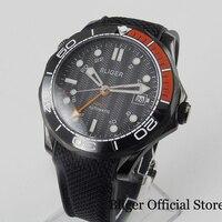 BLIGER Cool 41mm PVD Plated Self Winding Men Wristwatch Sapphire Glass Date GMT Function Ceramic Bezel Rubber Strap