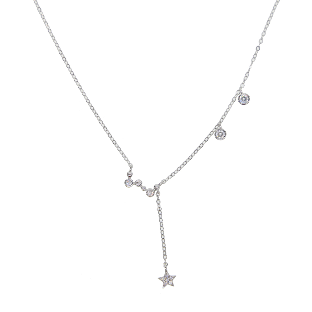 hot fashions Delicate Minimalist Tiny Necklaces 925 sterling silver bezel cz drip star charm pendant choker neckcelace for girls