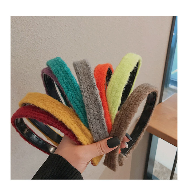 2020 new hair accessories for women girls hair pin wool woven twist braids Solid color headband fashion girl hair band headwear