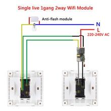 EWelink Einzigen Draht WIFI Modul 2 weg unterstützung RF433Mhz keine neutralen draht erforderlich arbeit mit Alexa und google hause 220 240V