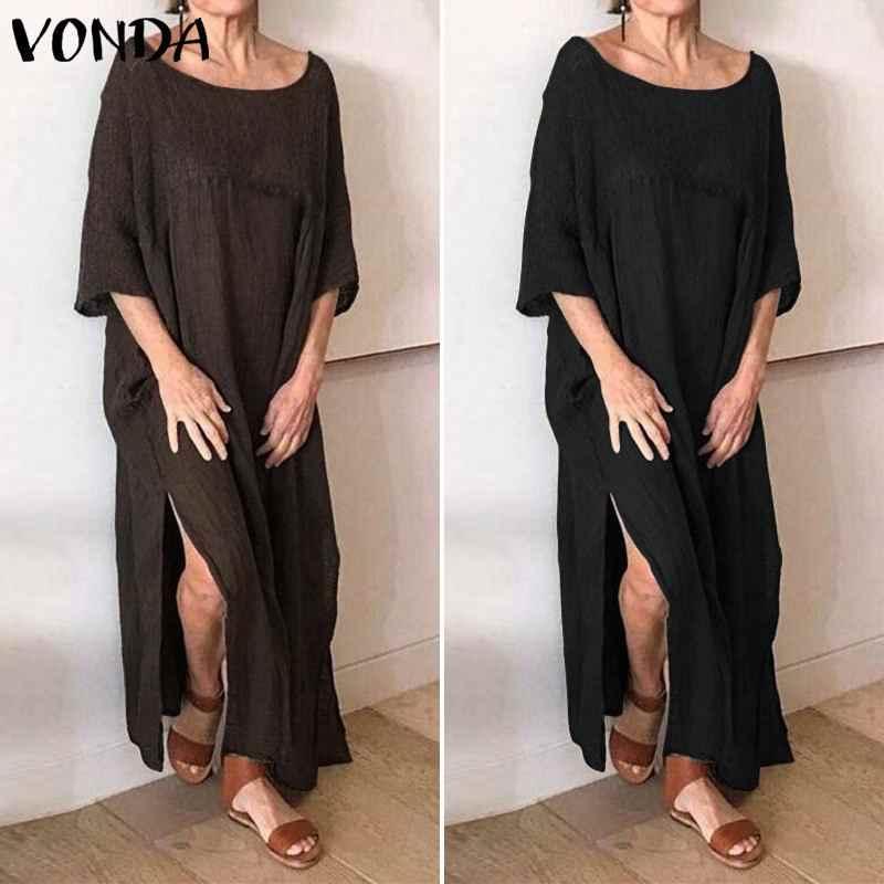 VONDA Vintage Vestido Mujer Sexy Split Hem partido Maxi Vestido largo Vacaciones verano Vestido Casual suelto Mujer talla grande