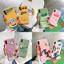 Cartoon Anime Cute SpongeBob Mobile Shell for iPhone X XS XR XSMax 8 7 6 6S PluS Silicone Corner Protected Back Cover