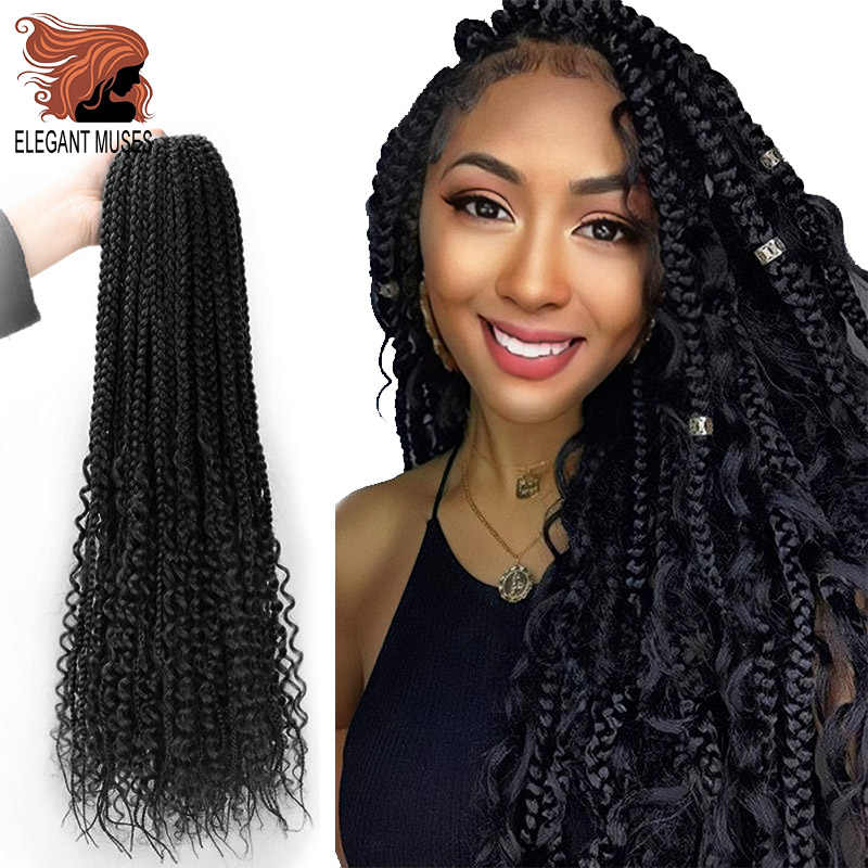 Messy Goddess Box Braids Hair Synthetic Crochet Hair Bohemian Hair With Curls 24inch Boho Braided Hair Extension