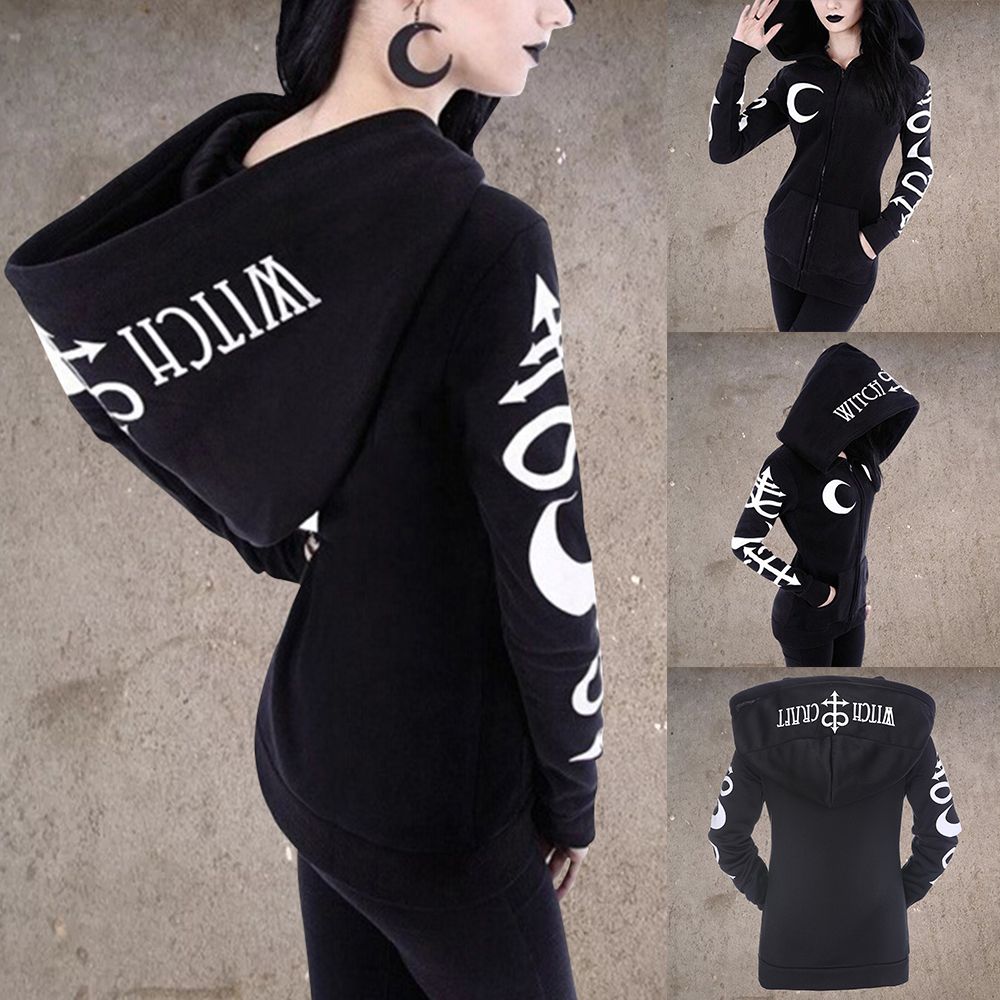 Women Gothic Hoodies Fashiom Hooded Print Punk Long Sleeve Zipper Casual Pocket Hooded Zipper Punk Sweatshirt Plus Size S-5XL