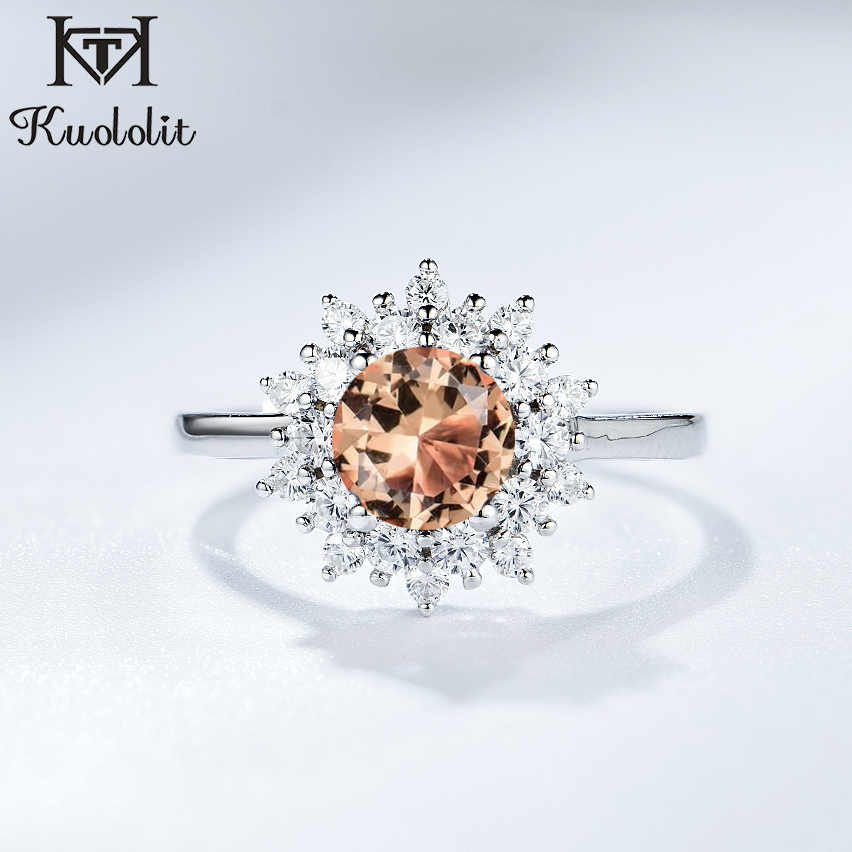 Kuololit Solid 925 Sterling Silver Rings For Women Girl Diaspore Zultanite Sultanite Gemstone Christmas Gift Part Fine Jewelry