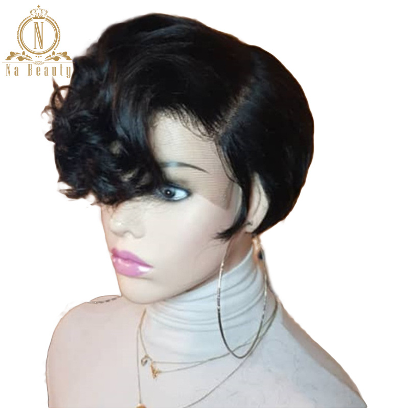 Pixie Cut Short Wig 13x6 Lace Front Human Hair Short Bob Wigs Natural Black Glueless Wavy Curly For Women Brazilian Remy Hair