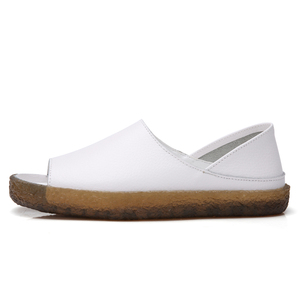 Image 4 - BEYARNEHandmade Sandalias planas de cuero genuino para mujer, zapatos casuales de verano, sandalias de gladiador para mujer, tamaño grande 35 43E045