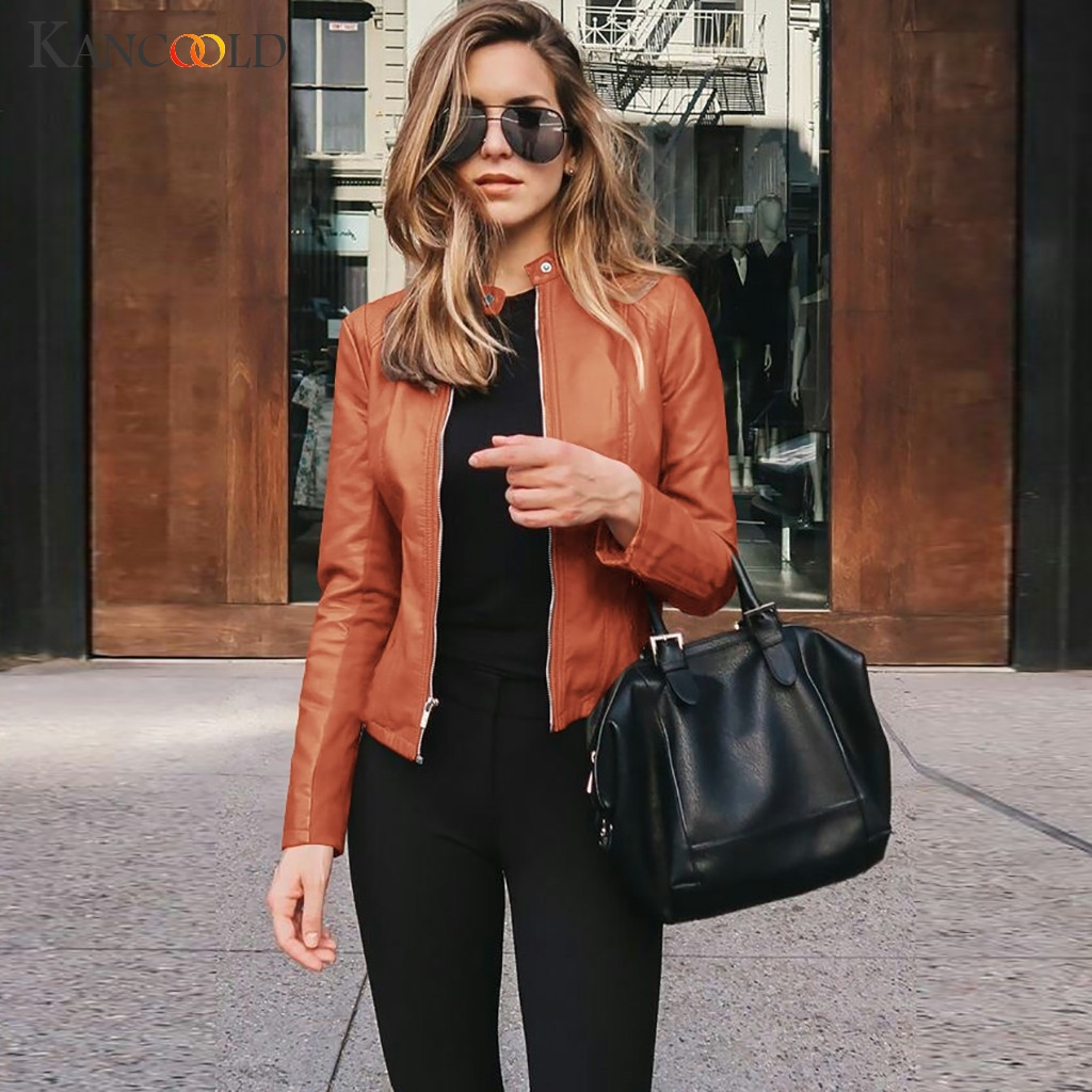 KANCOOLD Coats Women PU Long Sleeve Open Front Short Cardigan Suit Jacket Winter Top Stand Fashion New Coat Women 2019DEC4