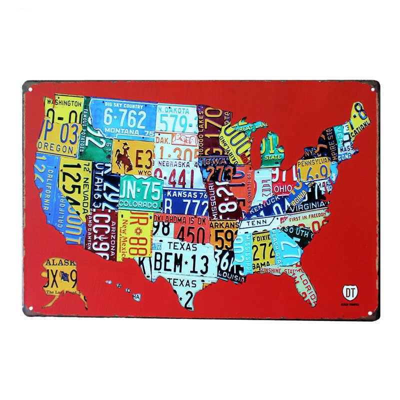 Kraj samochód tablice USA Route 66 mapa Vintage znak puszka Bar Pub garaż w domu dekoracje ścienne Retro Metal plakat artystyczny tablica 30x20cm A881