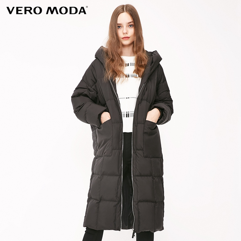 Vero Moda Women's 90% White Duck Down Hooded Drop Shoulder Long Down Jacket Parka Coat | 318412516
