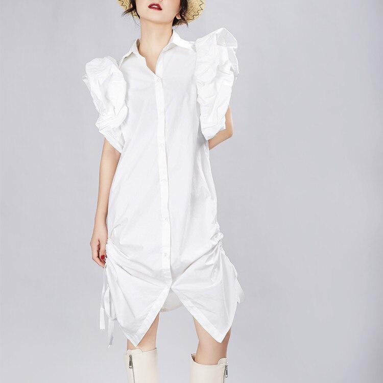 2019 automne femmes irrégulière chemise robe manches bouffantes tenue décontractée Streetwear robe de soirée femme vêtements