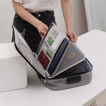 Bolsa de documentos de gran capacidad de viaje pasaporte cartera tarjeta organizadora de negocios de los hombres impermeable Paquete de almacenamiento artículos de accesorios para el hogar