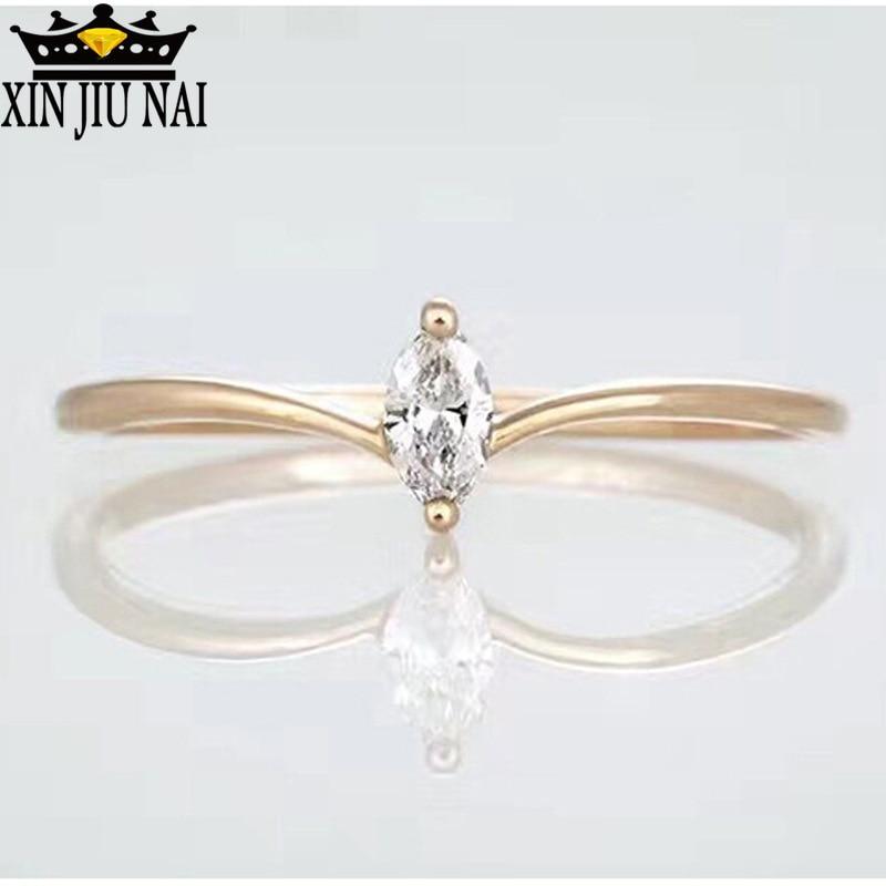 925 Sterling Silver K Golden Horse Eye Shape Zircon CZ Simple Nifty Crown Modeling Women's Simulation V Bar Ring