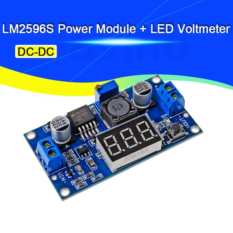 Javino LM2596S Power Module + LED Voltmeter DC-DC Adjustable Step-down Power Supply Module with Digital Display