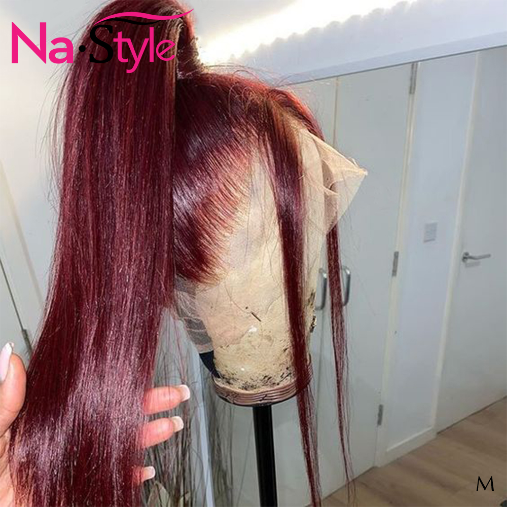 Burgundy Lace Front Wig 13x6 Part Lace Front Human Hair Wigs For Black Women Colored Straight Wigs With Baby Hair 130 Remy