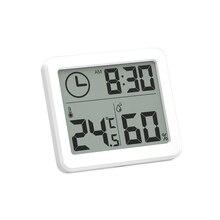 Новые ультратонкие цифровые часы с ЖК-дисплеем, электронные настольные часы с температурой и влажностью, домашние настенные часы с термометром и гигрометром